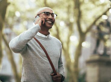 Man laughing on phone